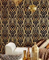 Wallpaper Letona Matt pattern Shimmering base surface Modern damask Beige Sand yellow Brown beige shimmer Matt gold Black