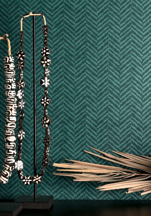 Papel pintado geométrico Papel pintado Patani verde azulado Ver habitación