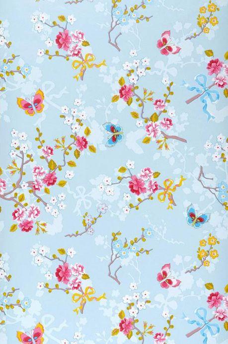 Papel de parede floral Papel de parede Benina azul pálido claro Largura do rolo