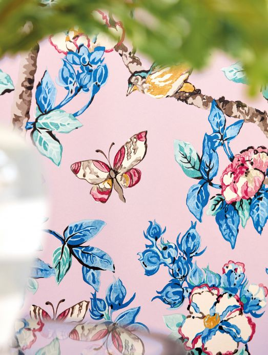 Papel de parede botânico Papel de parede Jardine rosa claro Ver ambiente