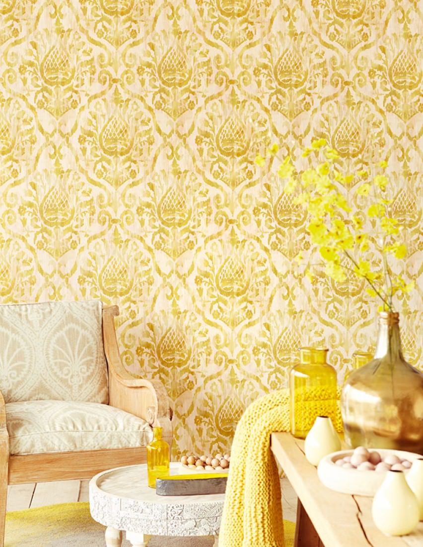 Wallpaper Esiko (Pale pink, Cream, Beige, Curry yellow, Green beige ...
