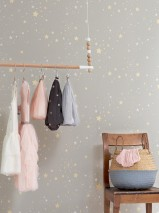 Wallpaper Twinkle Hand printed look Matt Starry sky Moss grey Cream Light yellow shimmer