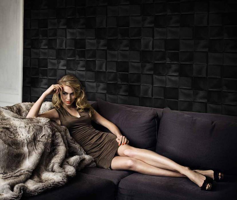Wallpaper Cortese Shimmering Looks like textile Imitation textile Black grey