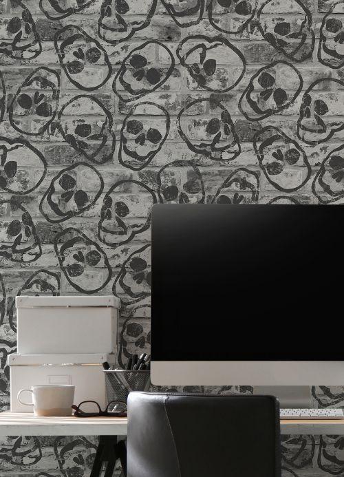 Funky Wallpaper Wallpaper Diabolo grey Room View