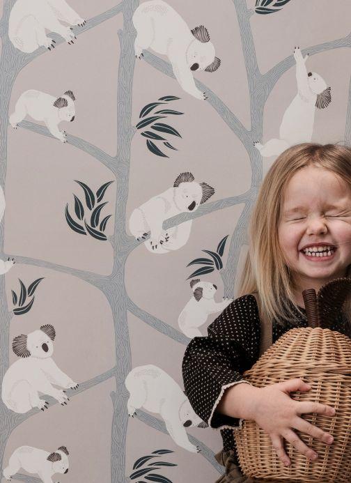 Papel pintado original Papel pintado Koala gris beige claro Ver habitación