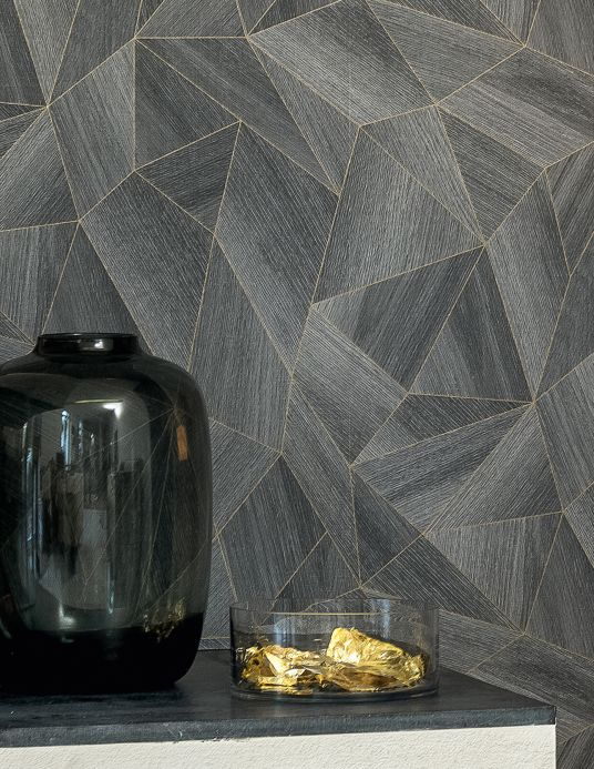 Geometric Wallpaper Wallpaper Zoras grey Room View