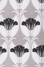 Wallpaper Lucina Matt Floral damask Oyster white Gold Light grey Black