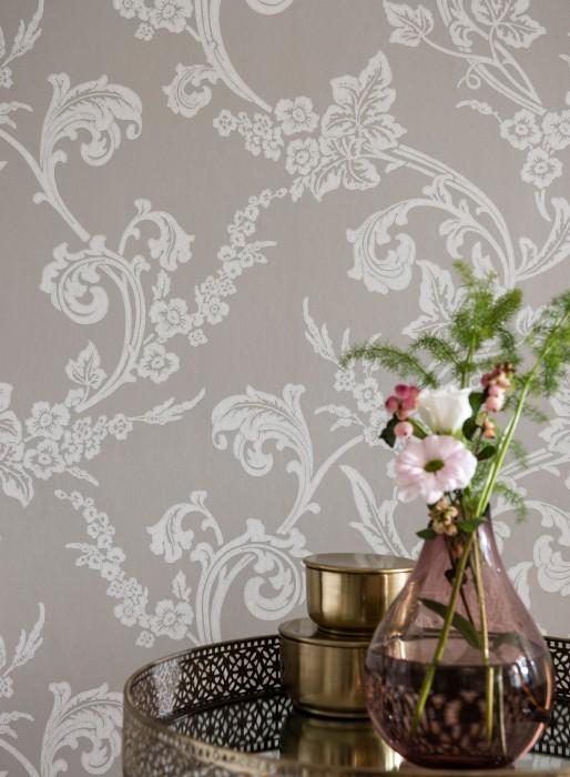 Papel de parede Antonetti Efeito estampado à mão Mate Damasco floral Cinza claro Branco acinzentado