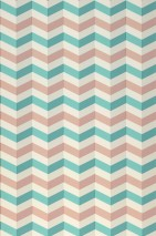 Papier peint Maluscha Mat Zigzag Blanc crème Turquoise menthe Bois de rose