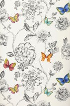 Wallpaper Cordula Matt Flower tendrils Butterflies Cream Blue Yellow Red orange Black grey Turquoise