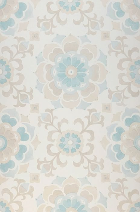 Wallpaper Saskia Matt Stylised blossoms Cream Light grey beige Light green Mint turquoise