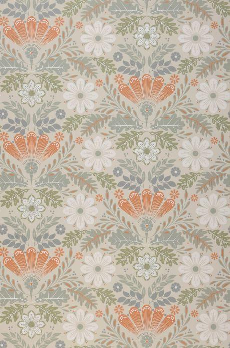 Papel de parede floral Papel de parede Johanna marrom alaranjado Bahnbreite