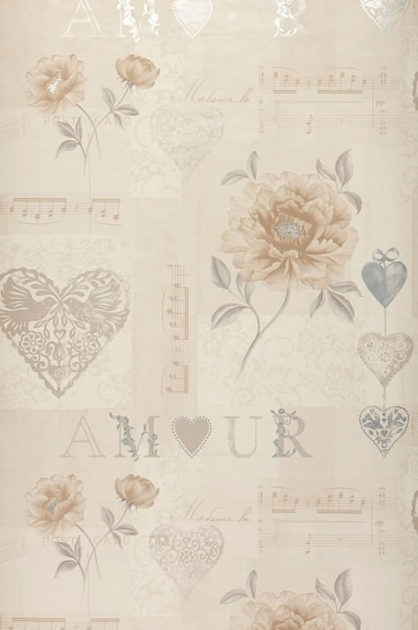 Wallpaper Verala Matt Flowers Hearts Musical Notes Words Cream Pale beige brown Grey Grey beige Silver shimmer