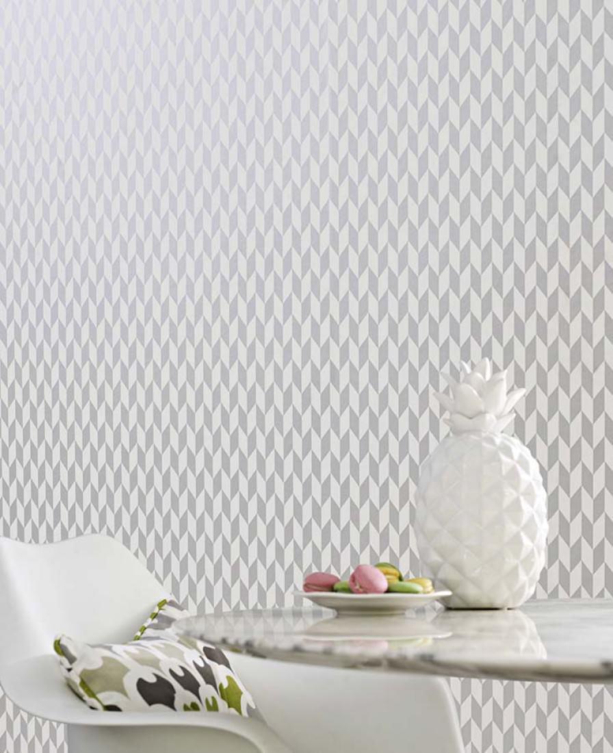 Teliko blanco crema aluminio gris papel pintado - Papeles pintados de los 70 ...