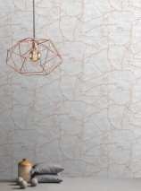 Wallpaper Vinduna Shimmering pattern Matt base surface Imitation marmor Grey white Pale rosé shimmer