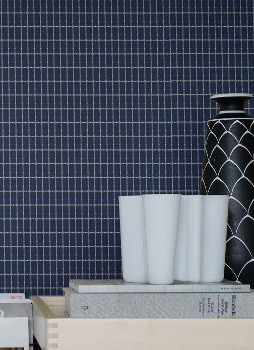Geometric Wallpaper Wallpaper Alvar sapphire blue Room View