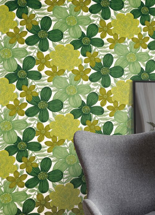 Floral Wallpaper Wallpaper Othilia green Room View
