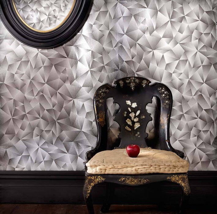 Wallpaper Menesis Shiny Metallic effect Mirror mosaic Black grey Silver