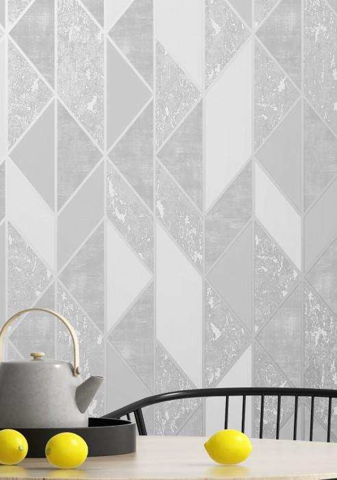 Papier peint Lasmo Motif mat Surface chatoyante Éléments graphiques Aluminium blanc Tons de gris Blanc gris