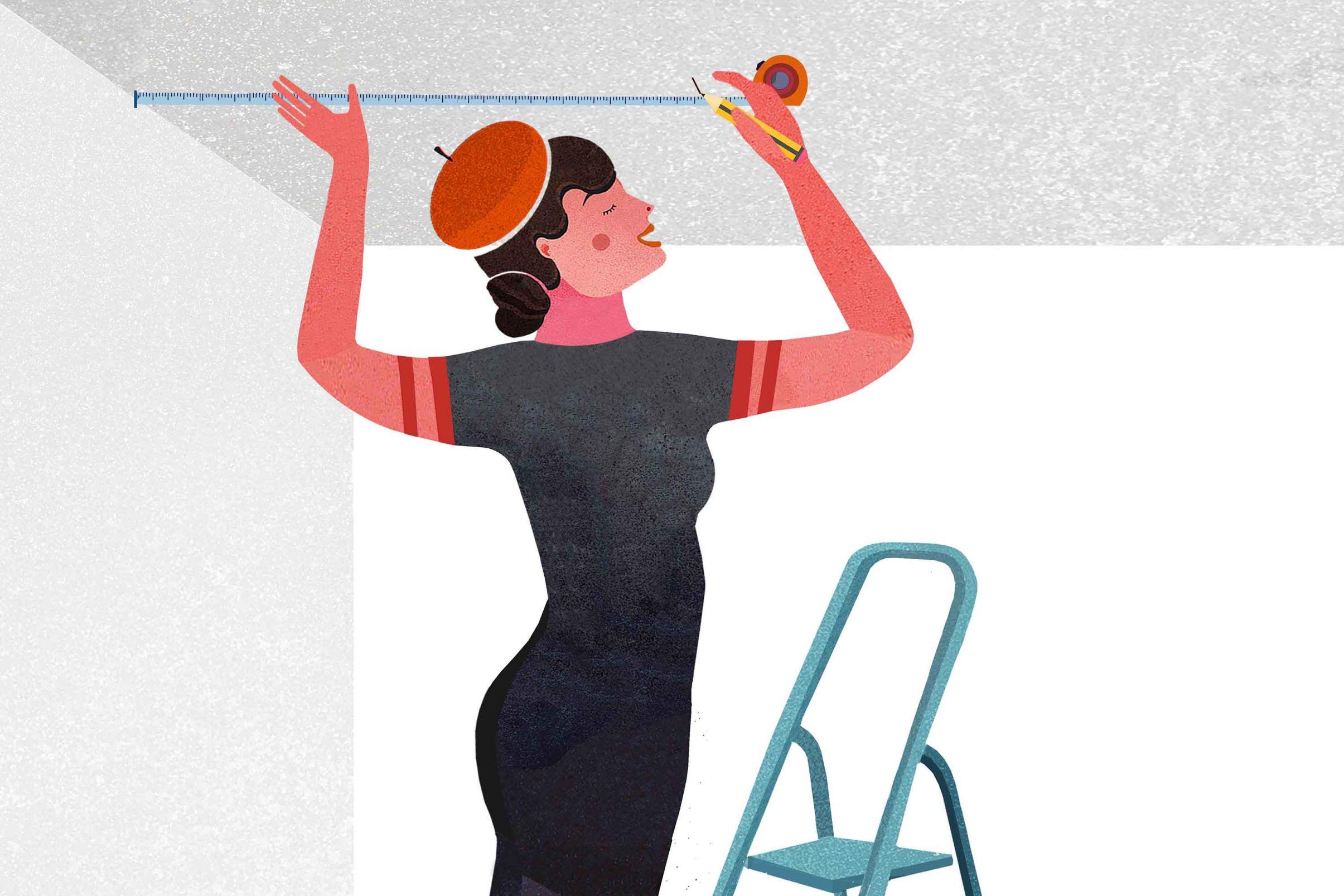Comment-tapisser-le-plafond-Mesurer-et-marquer-le-premier-le