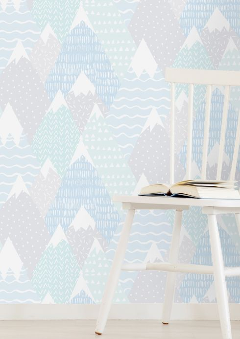 Children's Wallpaper Wallpaper Kadira pastel blue Room View