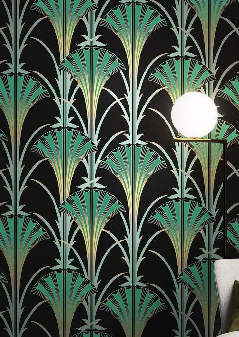 Papier peint art déco Papier peint Morley vert patine Vue pièce