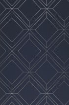 Wallpaper Malekid Shimmering pattern Matt base surface Graphic elements Dark blue Silver