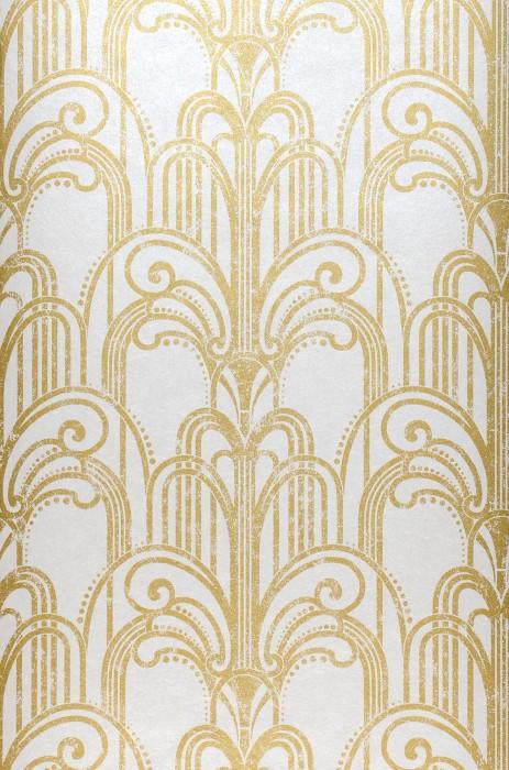 Tapete Emilia Schimmernd Art Deco Champagnerbrunnen Cremeweiss Perlglanz Perlgold