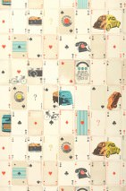 Wallpaper Ronel Matt Cars Objects Playing cards Beige Oyster white Yellow shimmer Pastel orange Turquoise blue shimmer