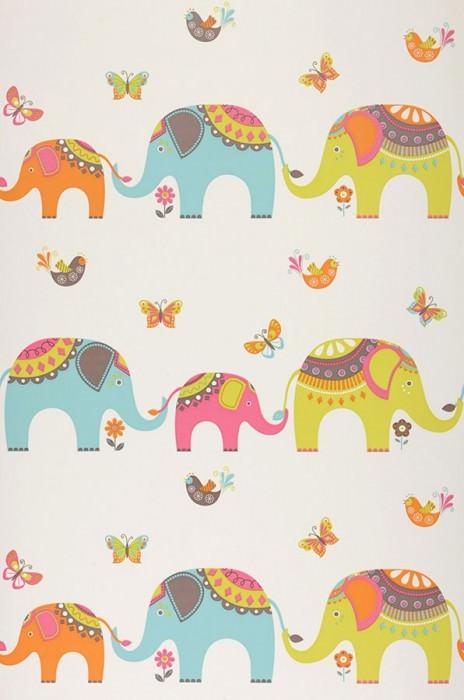 Papel pintado Elephants Mate Elefantes Mariposas Pájaros Blanco Verde amarillento Naranja Turquesa pastel Rosa