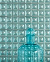 Wallpaper Gorgo Hologram effect Graphic elements Turquoise blue Turquoise lustre