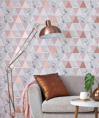 Wallpaper Zento pearlescent rosewood Room View