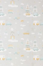 Wallpaper Above the clouds Hand printed look Matt Cars Buildings Clouds White grey Cream Honey yellow Mint turquoise