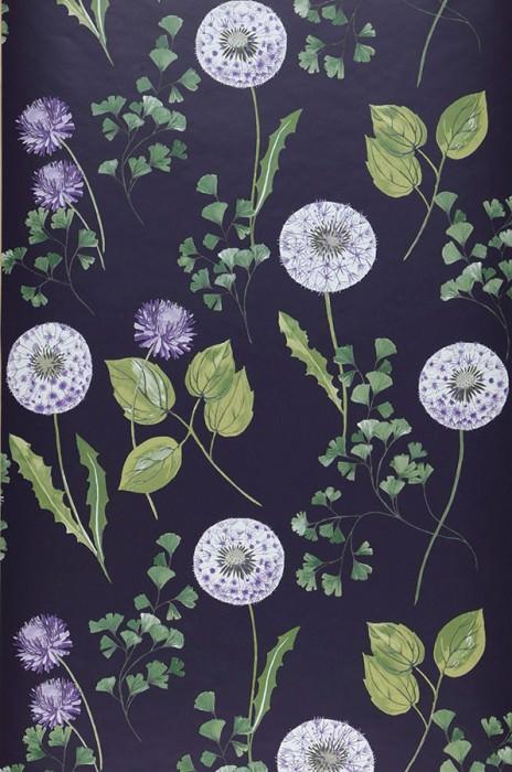 Wallpaper Tauria Matt Leaves Flowers Crimson violet  Shades of green Lila White