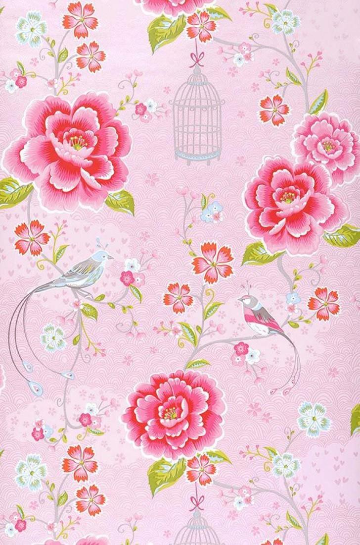 Amina rosa rojo fresa verde amarillento rosa blanco - Papel pintado de los 70 ...