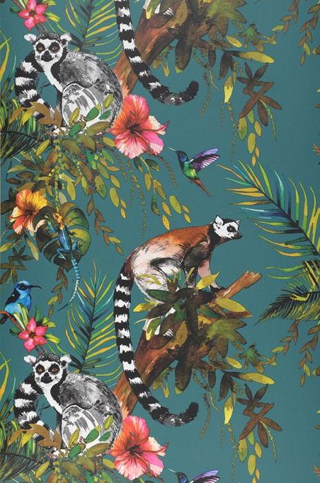Wallpaper Madagascar Matt Monkeys Leaves Blossoms Animals Birds Water blue Blue Brown Yellow Shades of green Rose