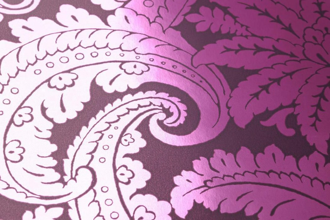 Wallpaper Nemesis Metallic effect Baroque damask Dark violet grey Violet lustre