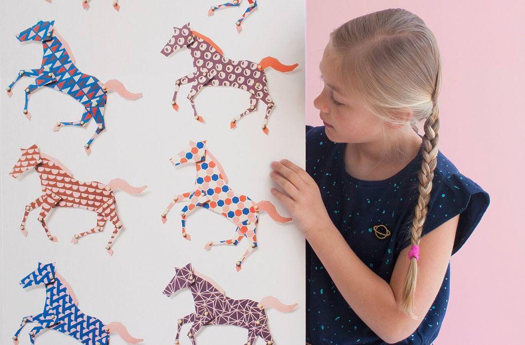 Papel de parede Studio Ditte Papel de parede Horses azul Ver quarto