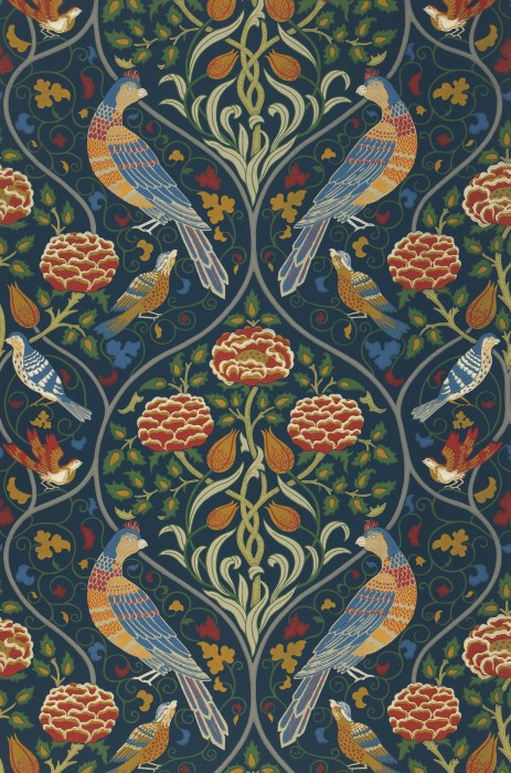 Wallpaper Adina Hand printed look Matt Floral damask Art nouveau Birds Grey blue Azure blue Green Green brown Red
