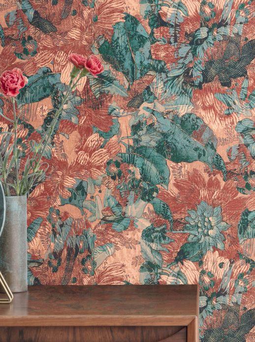 Floral Wallpaper Wallpaper Hanna brown tones Room View