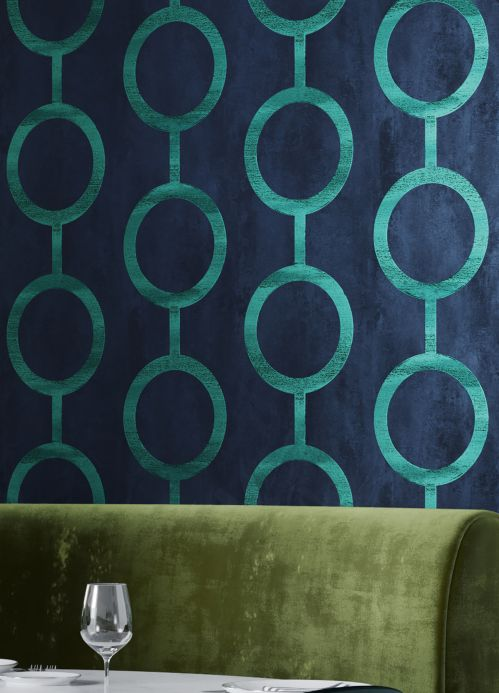 Striped Wallpaper Wallpaper Florin blue green Room View