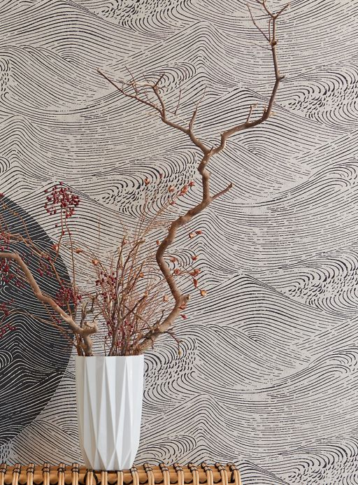 Maritime Wallpaper Wallpaper Ulevan pebble grey shimmer Room View