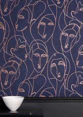 Papel pintado Vertigo azul acero Raumansicht