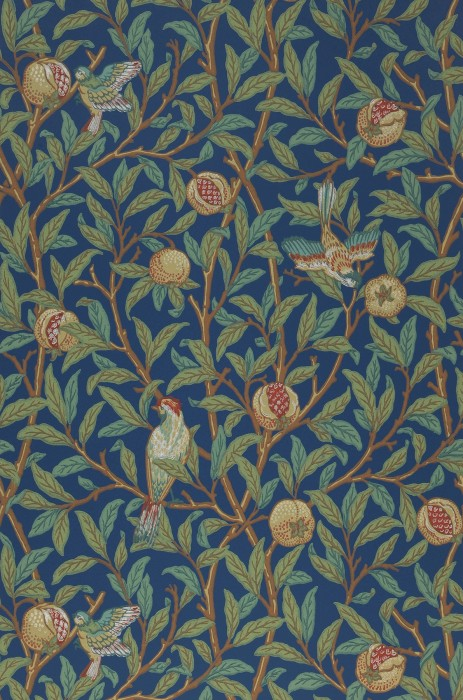Wallpaper Jakobine Hand printed look Matt Leaf tendrils Fruits Birds Azure blue Brown Brown red Green beige Shades of green