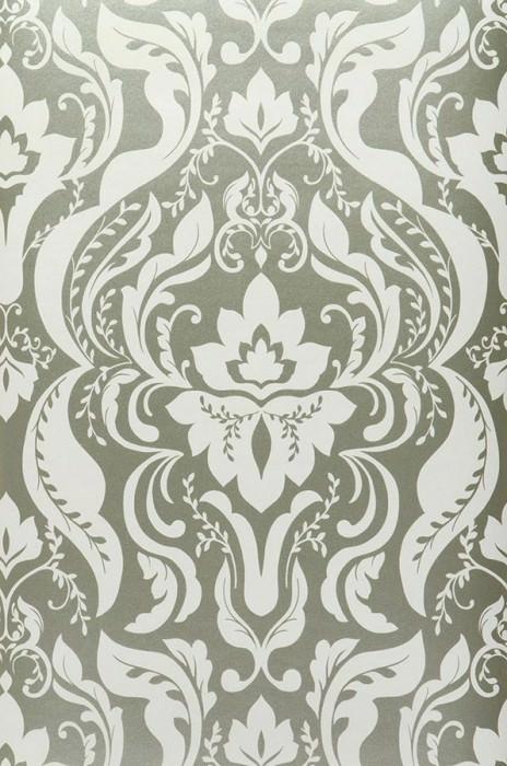 Wallpaper Sennin Metallic effect Baroque damask White gold