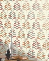 Wallpaper Tessa Matt Stylised flowers Cream Beige grey Grey white shimmer Coral red Orange shimmer