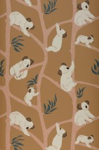 Wallpaper Koala Matt Trees Koalas Brown beige Blue Green Cream Light pink
