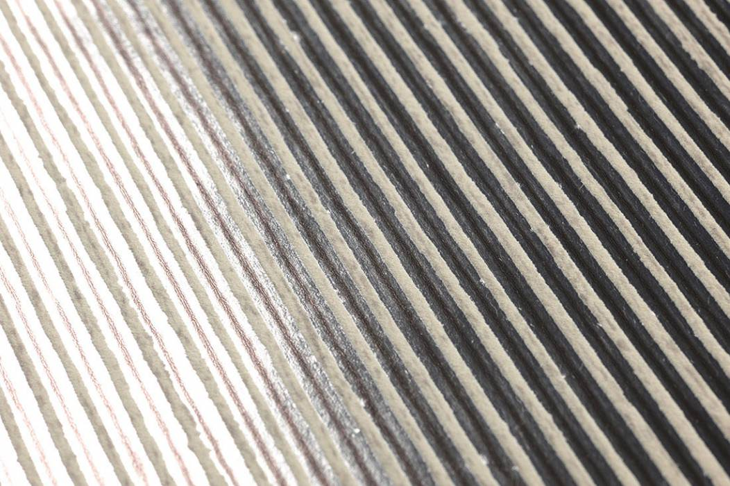 Wallpaper Isidor Matt pattern Shimmering base surface Stripes Dark brown Silver Cream