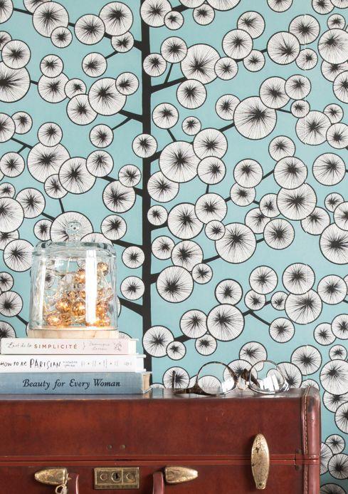 Papel de parede divertido Papel de parede Cotton Tree turquesa pastel Ver ambiente