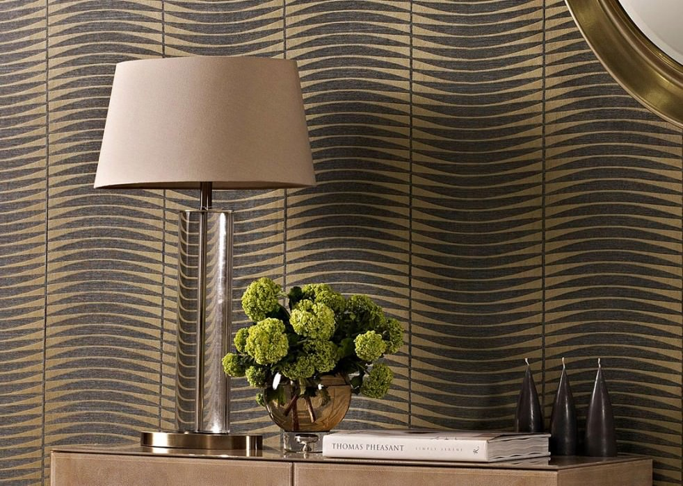 Wallpaper Sari Matt Wavy pattern Pearl gold Grey